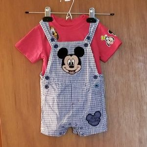 Disney - Mickey Gingham Overalls and shirt
